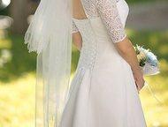Свадебное платье б/у Цвет молоко, размер 46-48, рост 170, верх кружево, юбка шифон, без обручей, корсет. Коллекция 2015 г. , А-силуэт. Покупалось в , Ярославль - Свадебные платья
