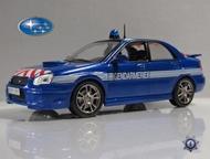 полицейские машины мира №4 Subaru impreza полиция франции цвет:синий, масштаб:1:43, сделан из металла и пластика, модель в блистере, без журнала, Липецк - Коллекционирование