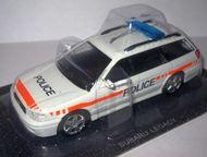 Липецк: полицейские машины мира №58 Subaru legacy полиция Швейцарии цвет:белый, масштаб:1:43, сделан из металла и пластика, модель в блистере, без журнала