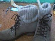 зимние сапоги продаю замечательные зимние замшевые натуральные сапоги, малы по размеру, даже не получилось одеть! 38 размер, Москва - Женская обувь